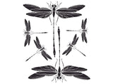"Dragonfly 4"" X 3-1/2"" Black 1206 or White 1191  Fused Glass Decals"