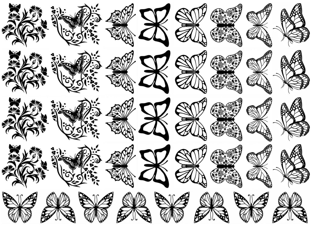 Butterfly Fancy Black #1208 Fused Glass Decals