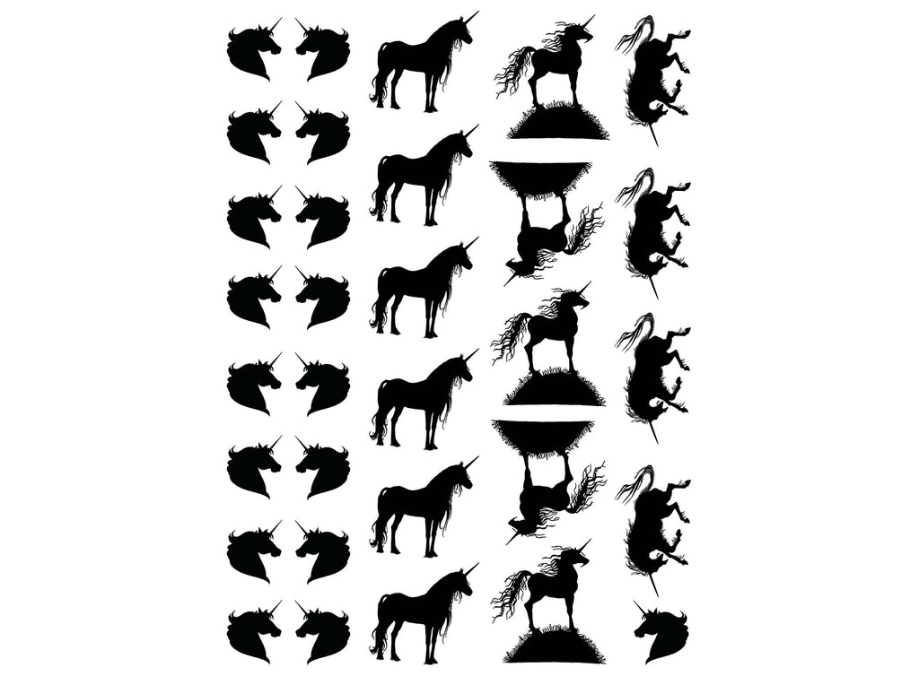 "Unicorn Variety 1/2"" and 1"" 32 pcs  5"" X 3-1/2"" card Black #1210 Fused Glass Decals"