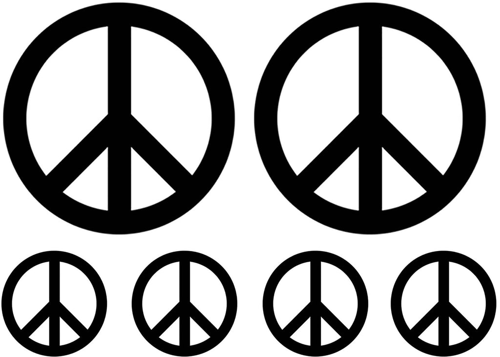 "Peace Signs 1-1/2"" and 3-1/4""  Black #1228 Fused Glass Decals"