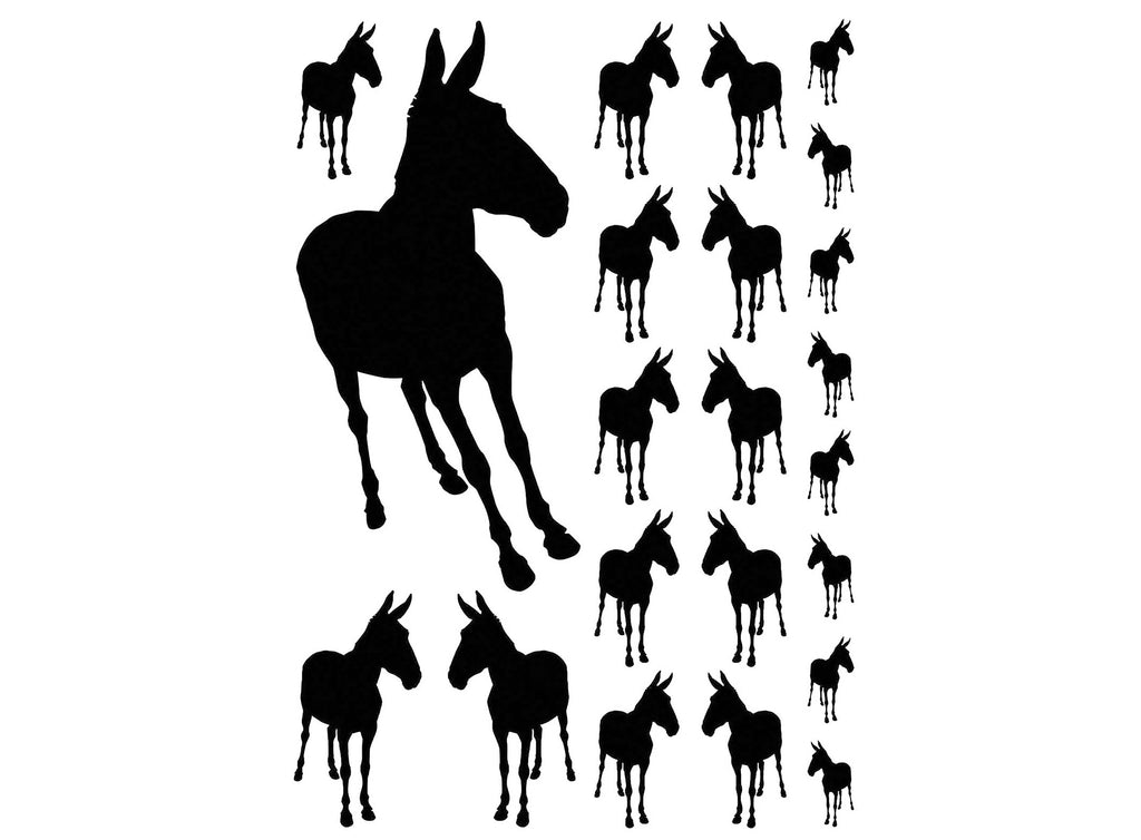 "Mules 1/2"" to 3.5""  22 pcs  5"" X 3-1/2"" Card Black #1229 Fused Glass Decals"