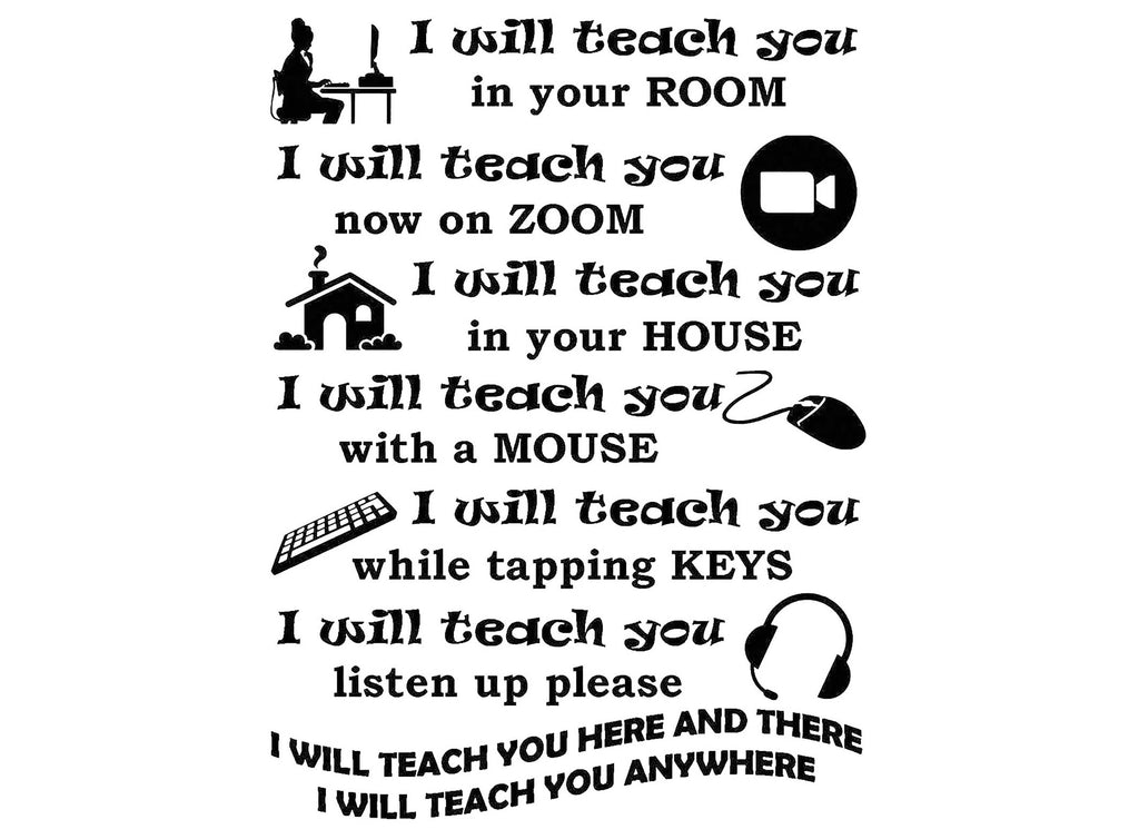 "Teacher Remote Poem   3"" X 4"" Black  #1235  Fused Glass Decal"