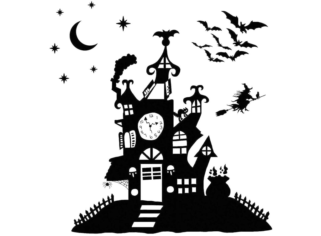 "Halloween Haunted House 2 pcs 4"" X 4"" on 4"" X 7"" Card  Black #1236 Fused Glass Decals"