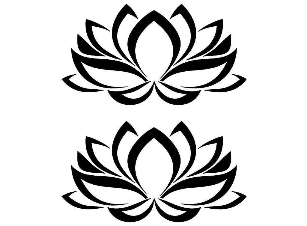 "Lotus Flower 2 pcs 4"" X 2-1/4"" Black #1237 Fused Glass Decals"