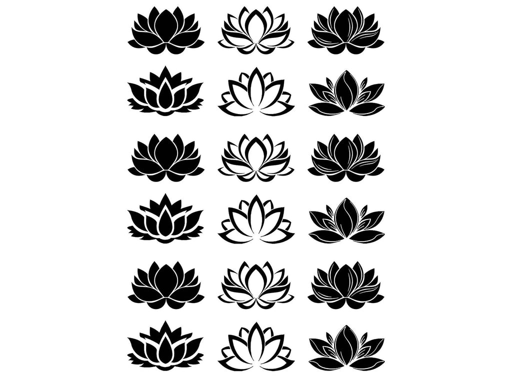 "Lotus Flower 18 pcs 1""  Black #1239 Fused Glass Decals"