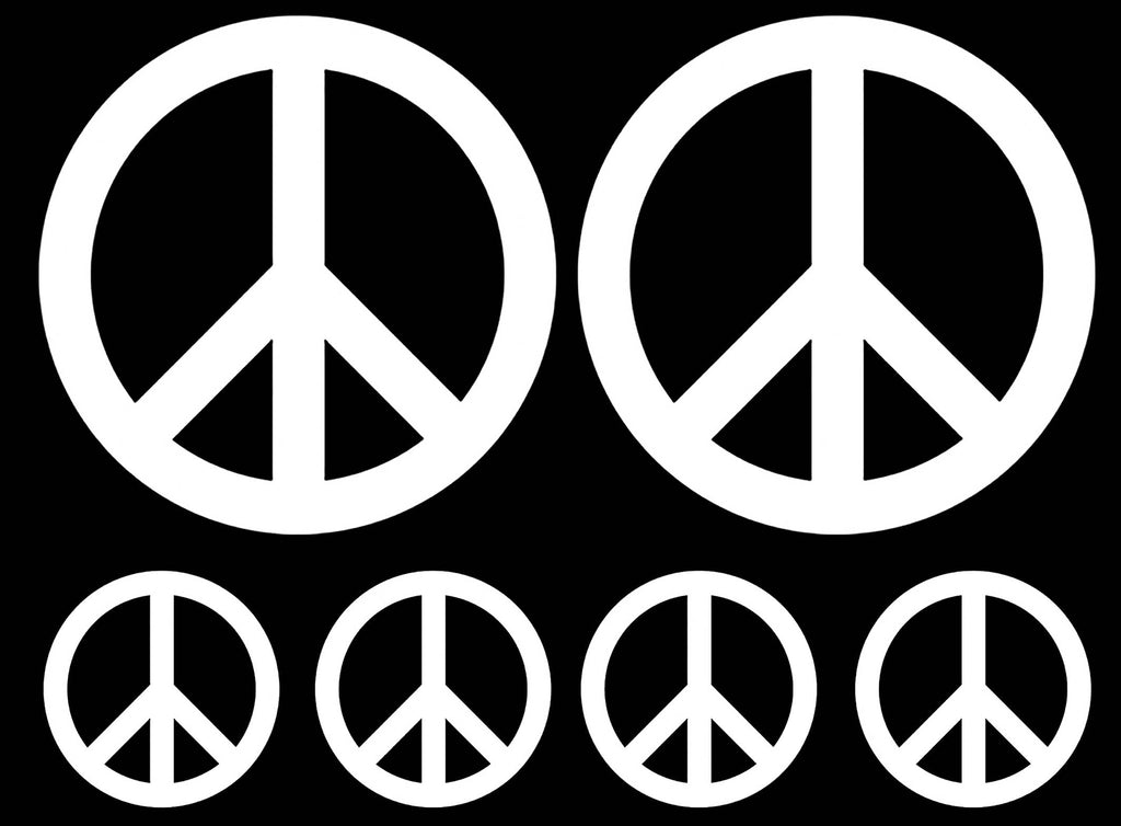 "Peace Signs 1-1/2"" and 3-1/4""  White #1249 Fused Glass Decals"