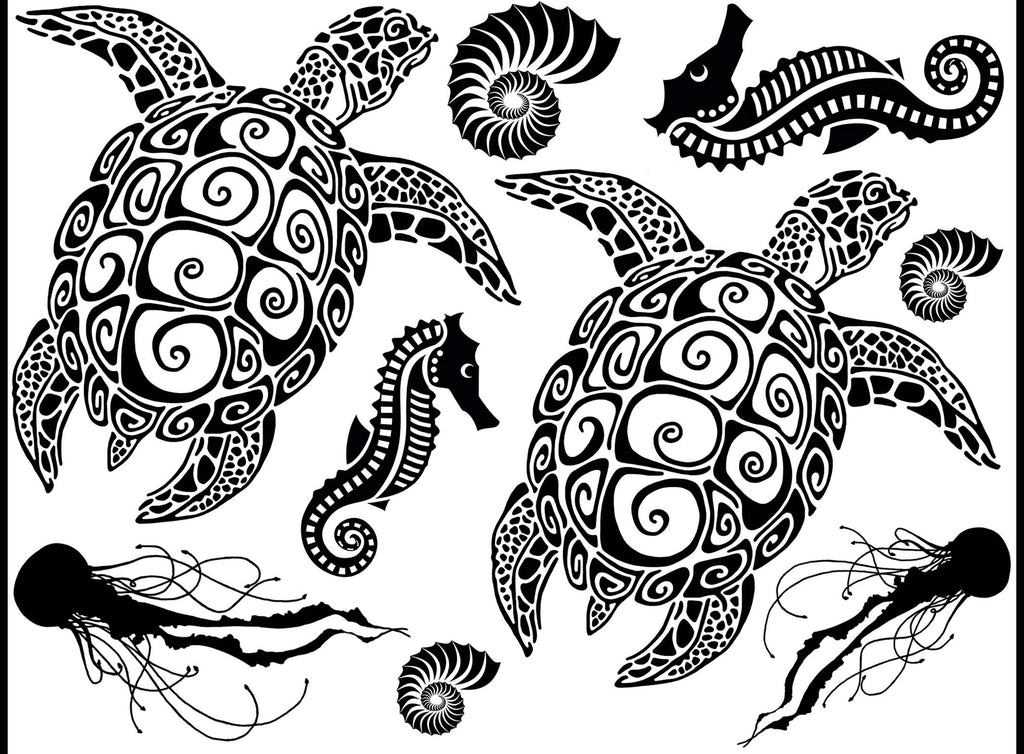 Sea Turtles Seahorses Jellyfish  Black #1255 Fused Glass Decals