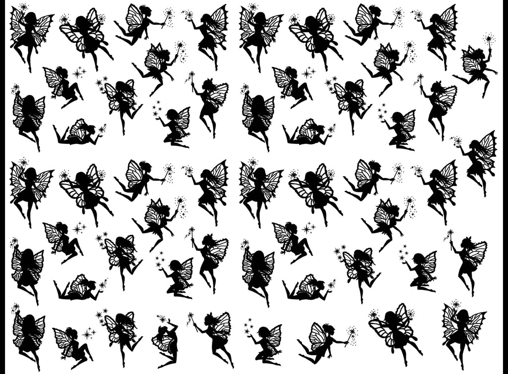 "Fairy Wishes 55 pcs 1"" on 5"" X 7"" Card  Black #1256 Fused Glass Decals"