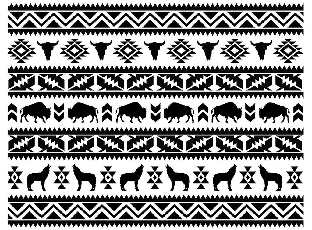 Southwest Allover Animal Striped Patterns  Black #1259 Fused Glass Decal