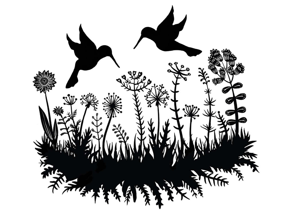 "Hummingbird Flower Garden 1 pc 4"" X 3-1/2"" Black #1265 Fused Glass Decal"