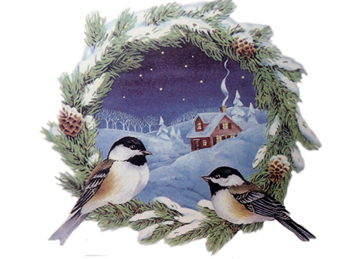 Christmas Chickadee Wreath 477