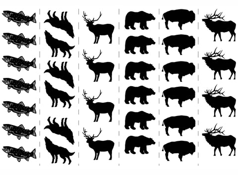 "Bear Bison Deer Elk Fish Wolf  5"" X 7"" Card Black #498 Fused Glass Decals"