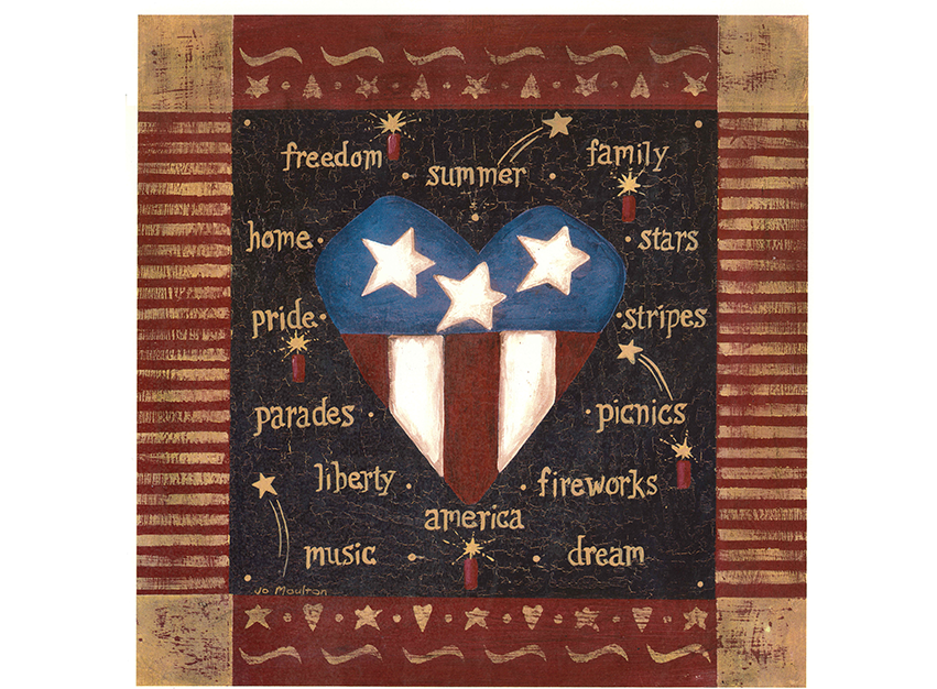 Patriotic Country Folk Art  Heart Stars Stripes Item # 535