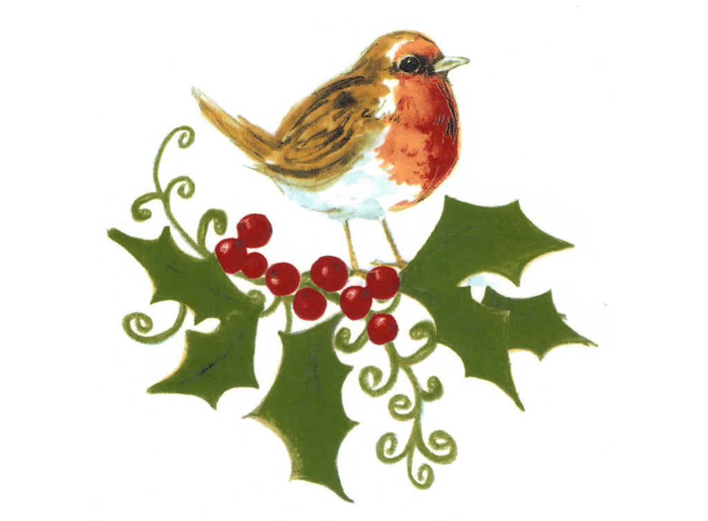 Robin Christmas Bird Holly Berries Ceramic Decals Item # 57446