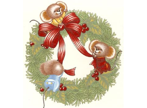 593 Christmas Mouse Mice Wreath