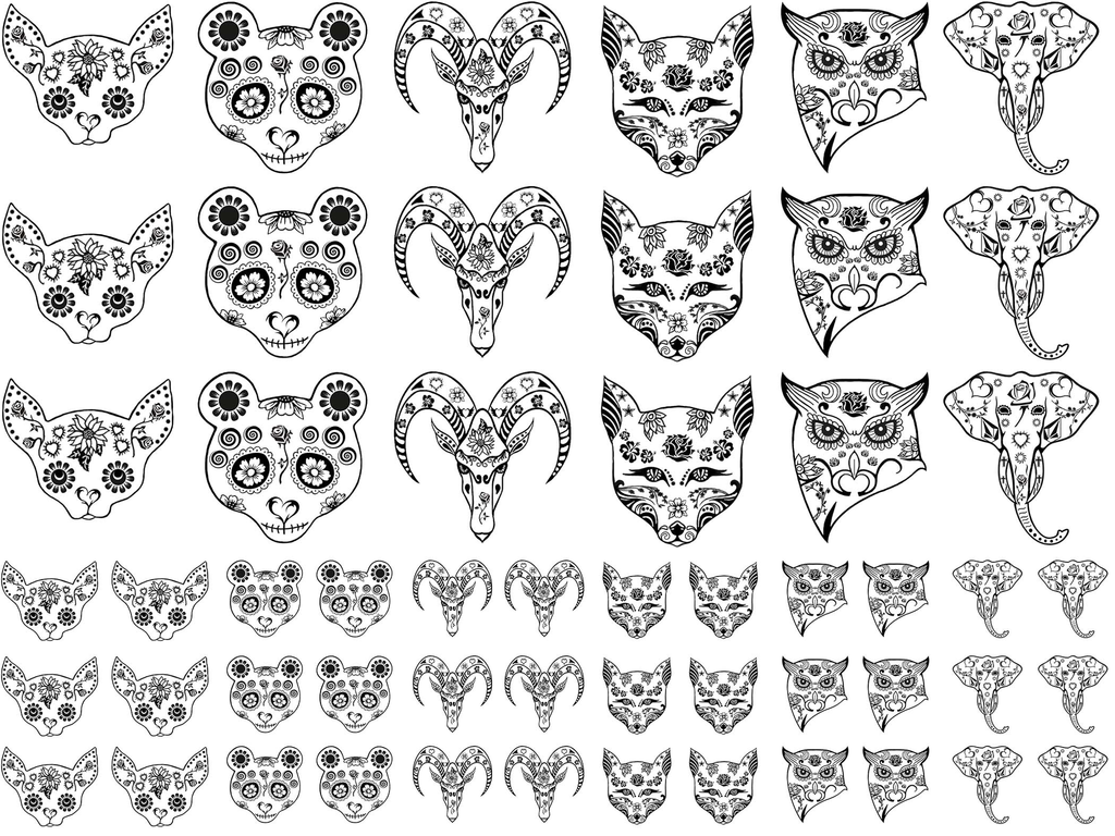 "Sugar Skulls Animals 1/2"" to 1-1/8""  Black #336 Fused Glass Decals"