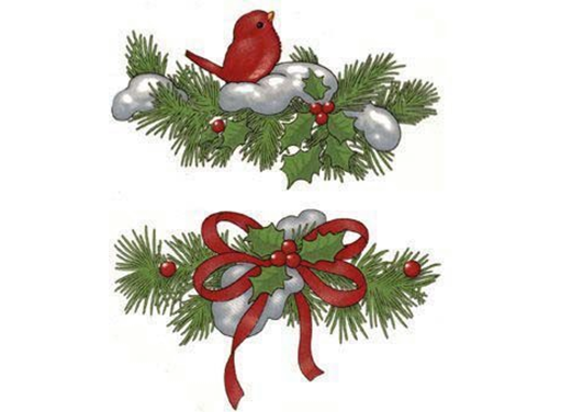 Pine Holly Baby Cardinal Bird Red Ribbon 622