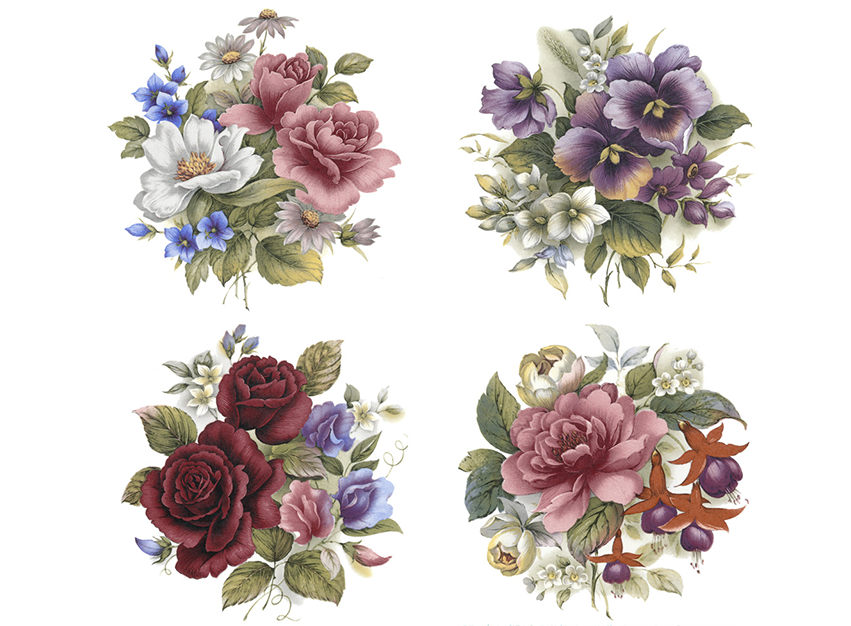 Rose Pansy Daisy Flower Bouquet Item # 6715 – Captive Decals