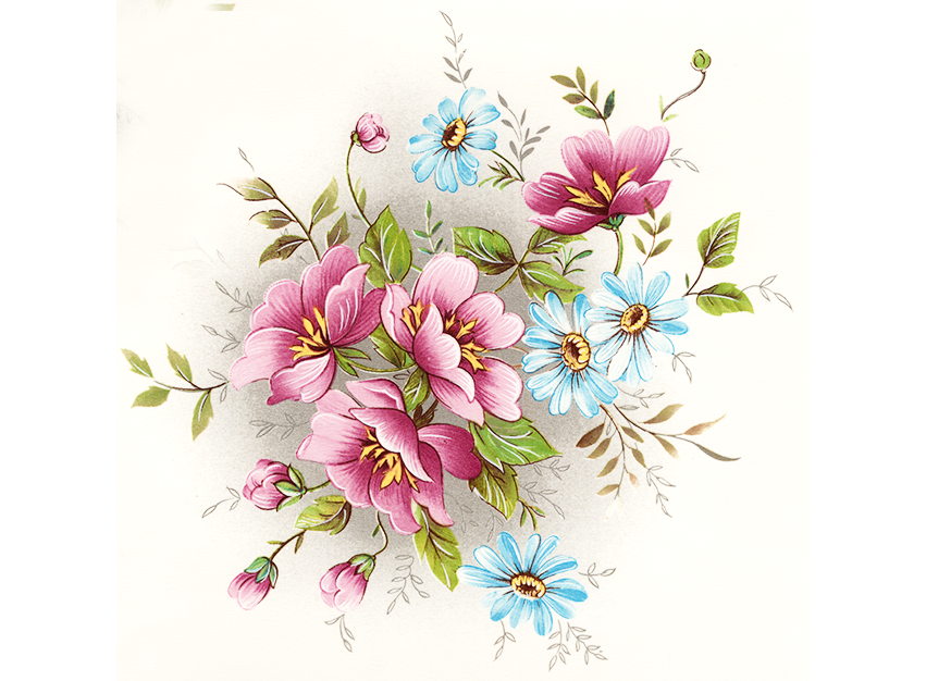 Gladis Pink and Blue Flowers  Item # 7078