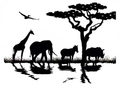 "African Animal Trail 4-1/4"" X 3"" Black #892 or White #919 Fused Glass Decal"