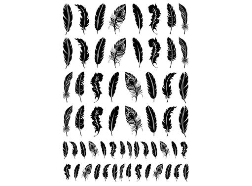 "Feathers  5"" X 3-1/2"" Card  Black #972 or White #1036 Fused Glass Decals"