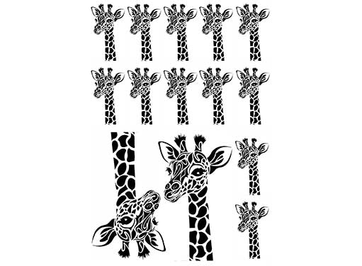 "Long Neck Giraffe 1-1/8"" and 2-1/2""  Black #983 Fused Glass Decals"