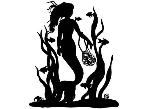 "Mermaid Collecting Seashells 1 pc 4"" X 3-3/8"" Black #1050 Fused Glass Decal"