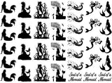 "Mermaid Soul 5"" X 7"" Card 35 pcs 1"" Black #1046 or White #1079 Fused Glass Decals"