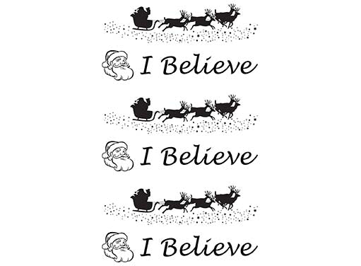 Barrette Christmas I Believe Santa Sleigh 6 pcs Black #664 Fused Glass Decals