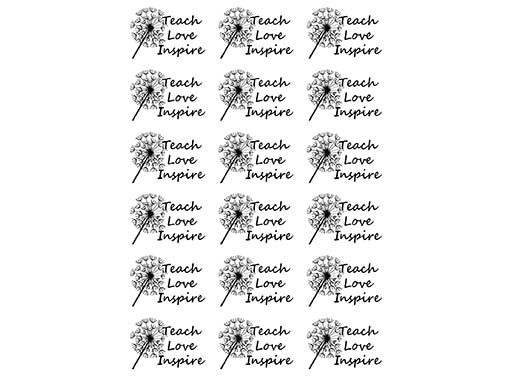"Teach Love Inspire  1""  Black #939 or White #948 Fused Glass Decals"