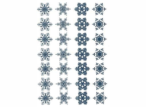 "Snowflakes 3/4"" Blue #1186 Fused Glass Decals"