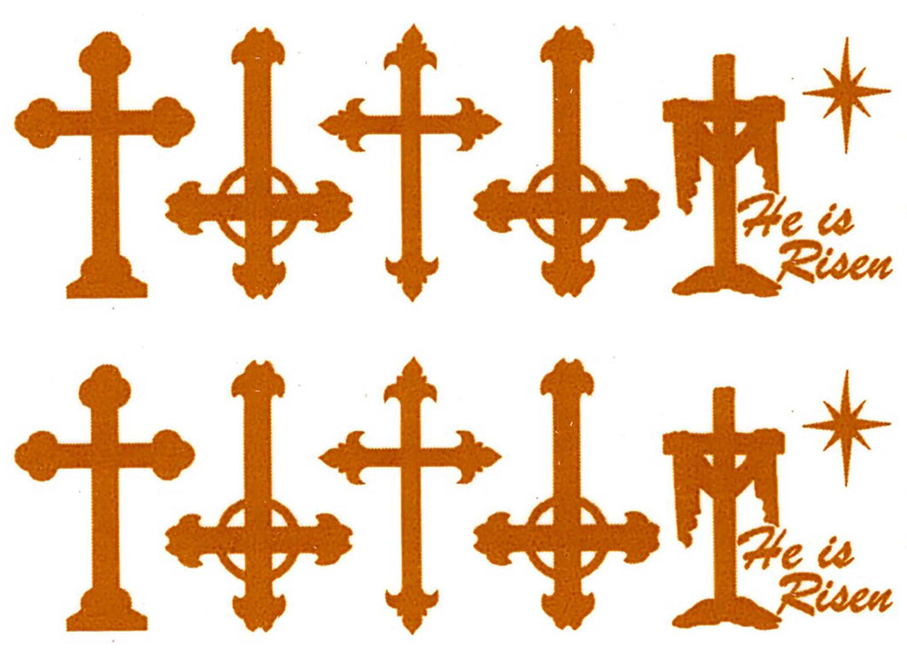 "Crosses 10 pcs 1"" Gold Fused Glass Decals 18CC990"