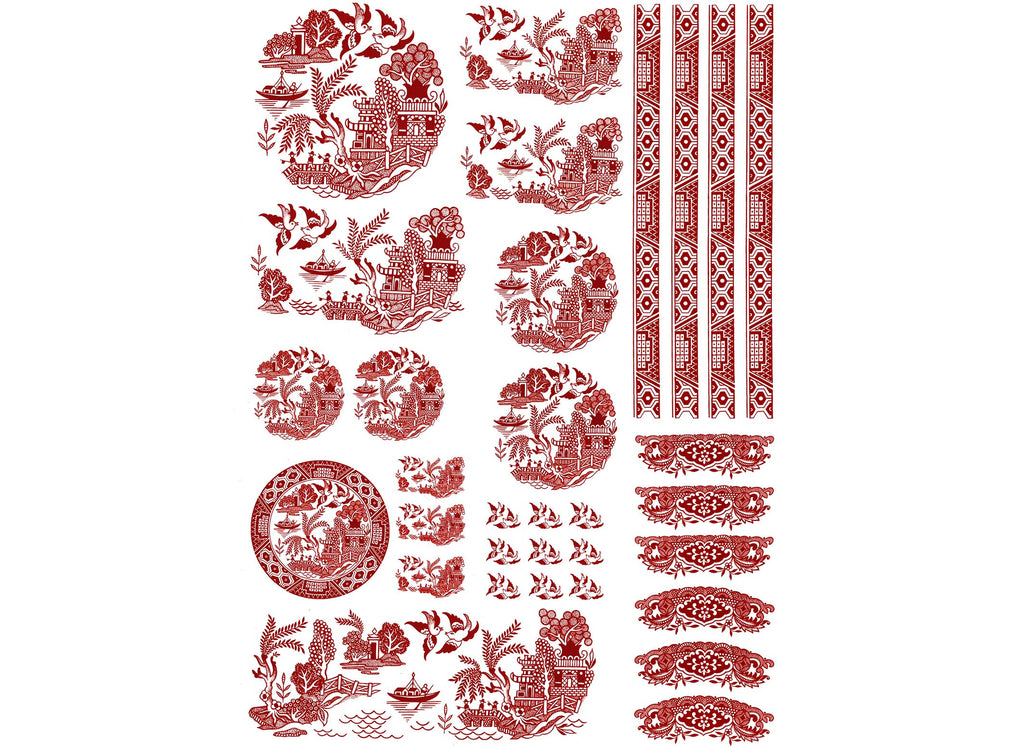 Red Willow Oriental Pagoda Boat Birds Scene 32 Ceramic Decals on sheet R 543