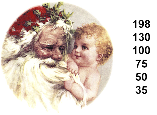 Christmas Santa & Baby Father Time  2890