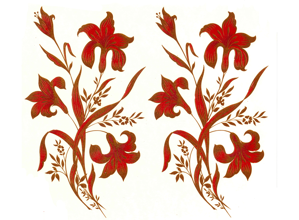 Red and Gold Lily Flowers  Item # 236