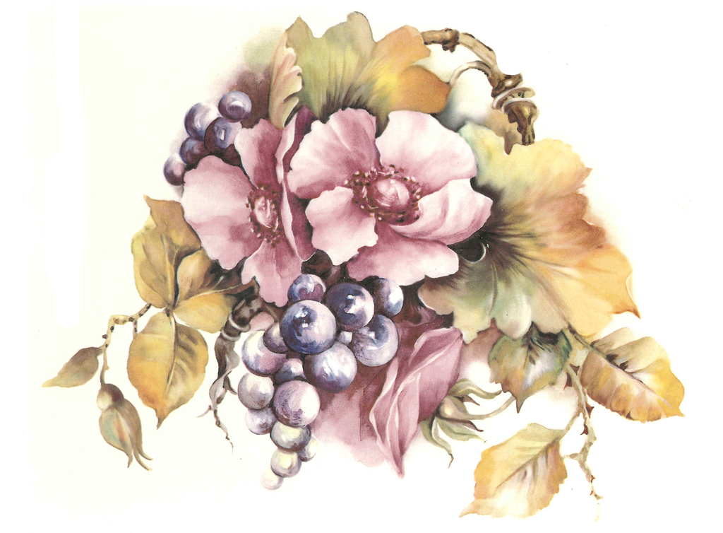 81474 A Hand Painted Grapes Flowers