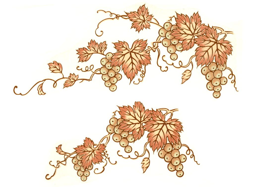 "293 Gold Grape Cluster Leaves 3 1/2"" and 5"" Ceramic Decals"