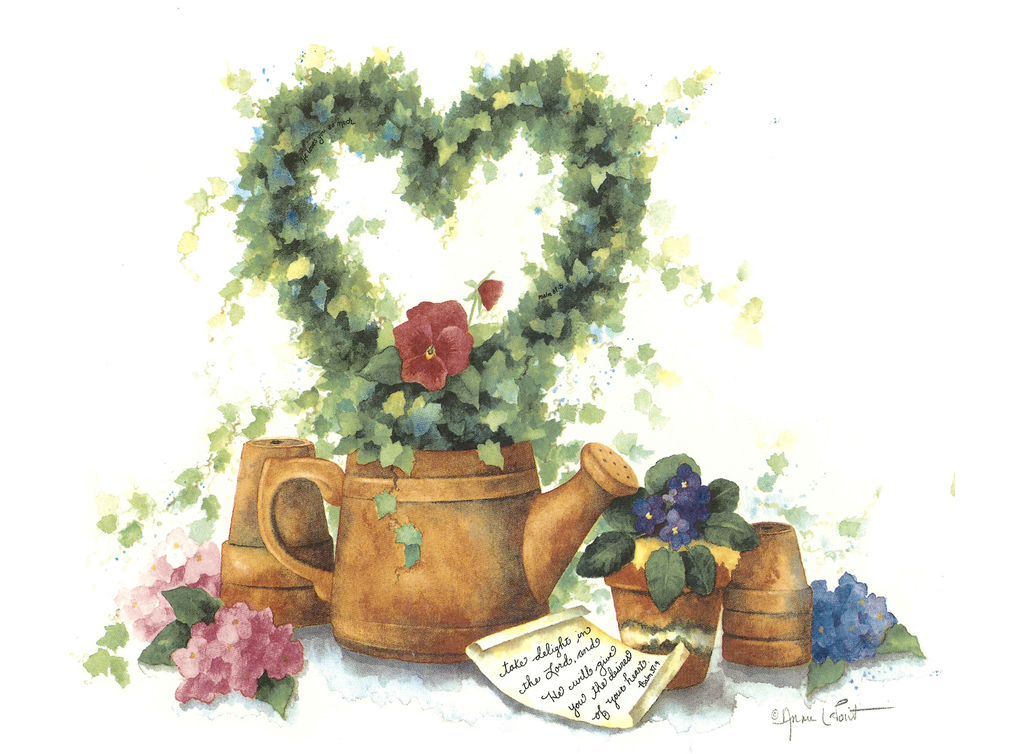 Heart Topiary Rustic Watering Can Item # 235