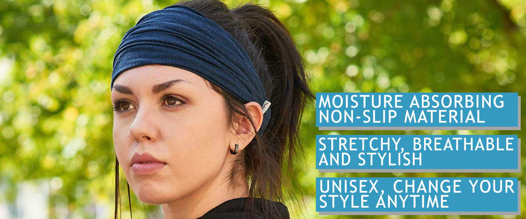 workouts headbands for men and women unisex fashionable stretchy breathable stylish moisture absorbing non-slip material