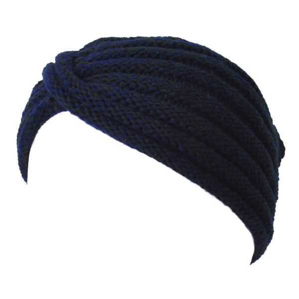 womens winter turban knit hat Navy