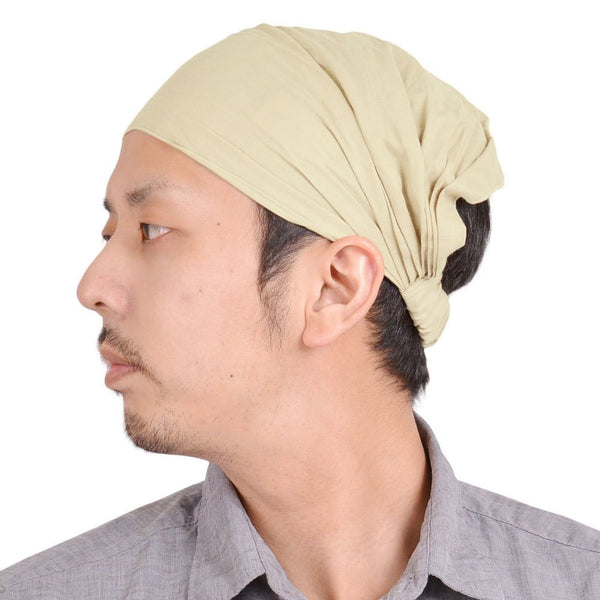 Casualbox Japan Womens Mens Ladies Unisex Gender Neutral Hairband Headband Turban Bandana Yoga Fitness Gym Hair Band Head Beige