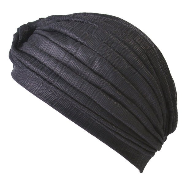 Metallic Turban Hat Black