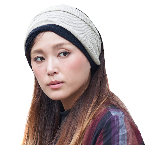 Wool and silk beanie neck gaiter warmer ear neckwarmer circle loop scarf chemo headband beanie Light Gray