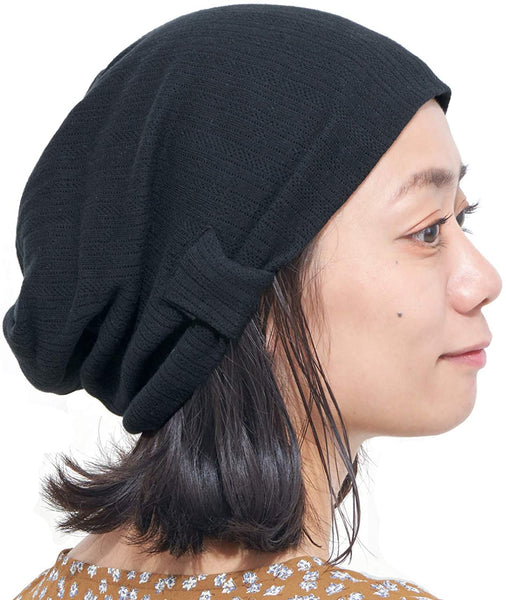 CHARM Womens Textured Cotton Beanie Black