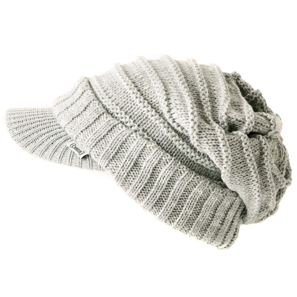 slouchy beanie knit hat for winter grey