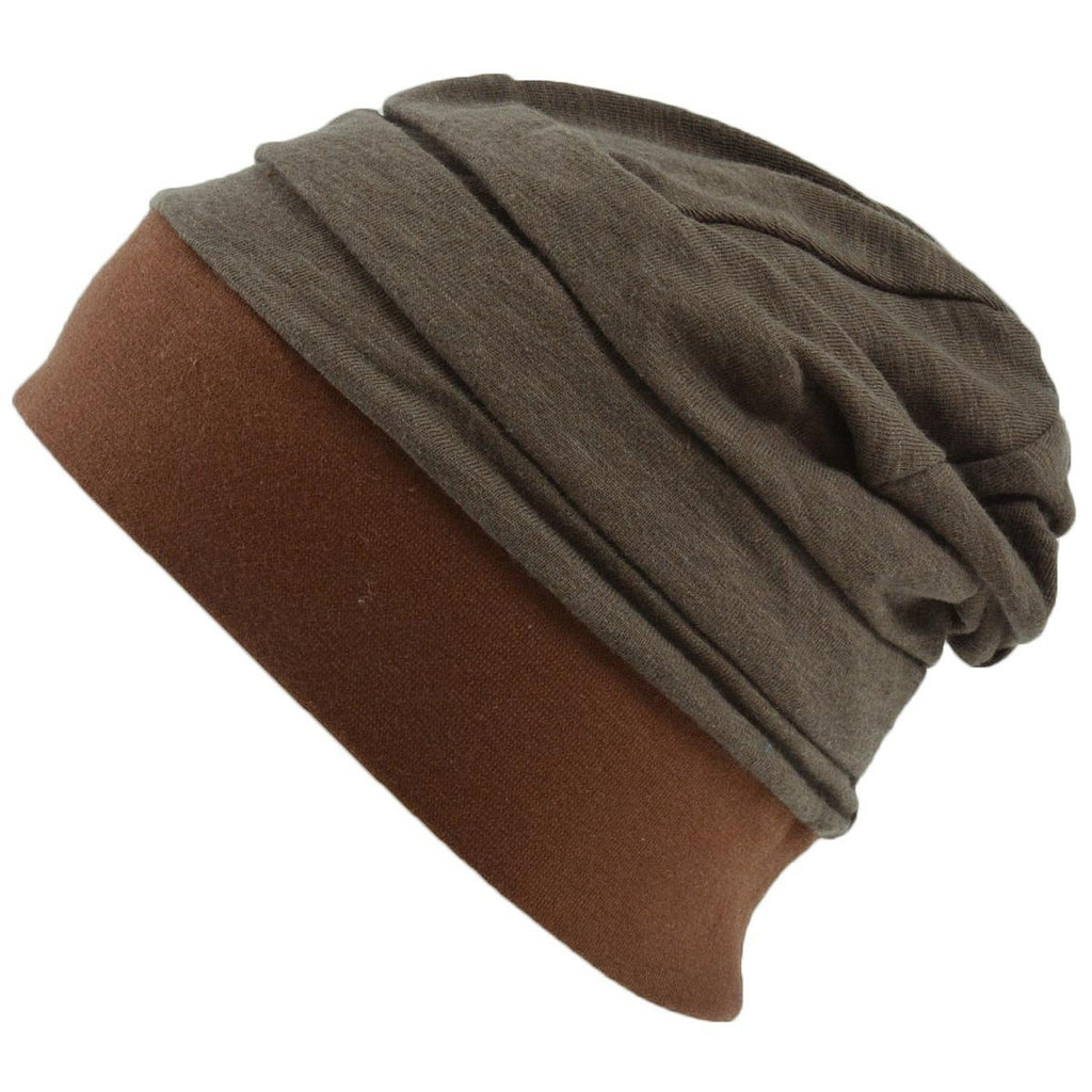 Slouchy 100% Cotton Linen Beanie for Kids Children Girls Boys Unisex Breathable Brown