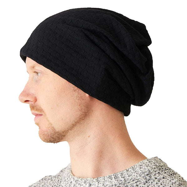 Organic Cotton Beanie Neck Warmer Gaiter Headband Black