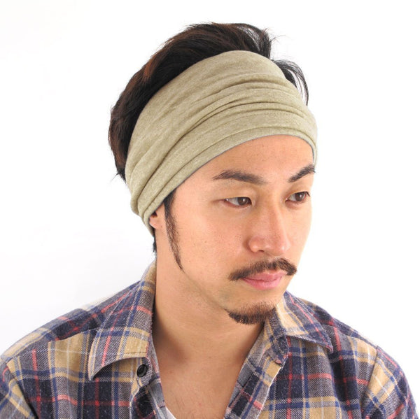100% Organic Beanie Headband Hairband Turban Neck Warmer Neckwarmer Ladies Womens Women Mens Men Unisex Beige