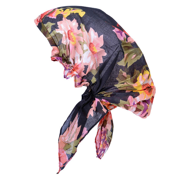 Womens 100% Cotton Bandana Head Scarf - Lightweight Chemo Cap Small Size Floral