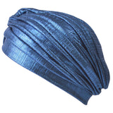 Metallic Turban Hat Blue